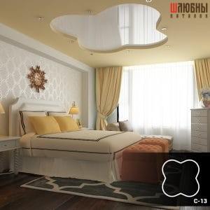 Красивый двухуровневый натяжной потолок в спальне в Гомеле фото